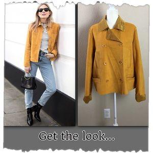 Harve Benard Mustard Yellow Faux Suede Jacket